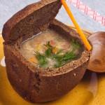 Вегетарианские рецепты: Суп в хлебе. Хлебные горшочки