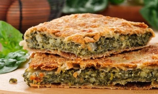 постный пирог со шпинатом и орехами