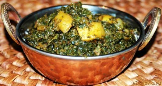 Палак сабджи или сабджи со шпинатом и картошкой